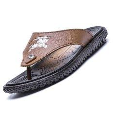 Spesifikasi Cyou Merek Mewah 2017 Baru Pria Flip Flops Kulit Asli Sandal Summer Fashion Beach Sandal Sepatu Untuk Pria Brown Intl Lengkap Dengan Harga