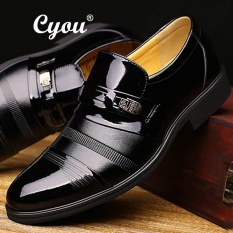 Cyou Merek Mewah Kulit Buatan Mens Santai Sepatu Gaun Sepatu Fashion Business Affairs Desain Oxford Pernikahan Shoes Kasut Lelaki (hitam) -Intl