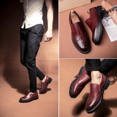 CYOU Sepatu Baju Pria Soft Pointed Toe Classic Fashion Bisnis Oxford Sepatu untuk Pria Pantofel (Merah)-Intl