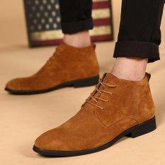 Spesifikasi Cyou Pendatang Baru Kulit Oxford Formal Berenda Gaun Boot Fashion Mens Menunjuk Toe Chukka Musim Dingin Sepatu Cokelat Intl Bagus
