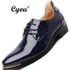 Cyou Plus Ukuran 37-48 Busana Pria Genuine Leather Sepatu Oxford Mewah Pria Italia Merek Sepatu Musim Panas Kulit Sepatu Lelaki Berpakaian Kasut Kulit (Biru) -Intl