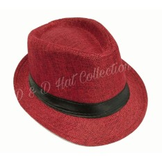 D & D Collection Men Women Casual Fedora Panama Hat / Topi Fedora Panama Dewasa Pria Dan Wanita (Merah)