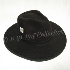 D & D Collection Women Men Fedora Panama Bowler Wide Brim Hat Gangster Cap / Topi Fedora Brim Lebar - Hitam