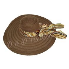D & D Fashion Floppy Hat Wide Ribbon / Topi Pantai Lebar Pita Pelangi - Coklat Tua