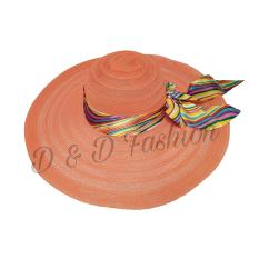 D & D Fashion Floppy Hat Wide Ribbon / Topi Pantai Lebar Pita Pelangi - Orange