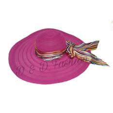 D & D Fashion Floppy Hat Wide Ribbon / Topi Pantai Lebar Pita Pelangi - Pink Fanta