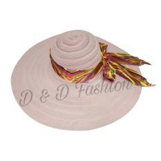 D & D Fashion Floppy Hat Wide Ribbon / Topi Pantai Lebar Pita Pelangi - Pink Muda