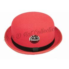 D & D Hat Collection Bowler Hat / Topi Pria Fedora Bowler Chaplin Dewasa New Edition – Merah