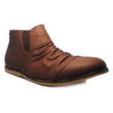 Beli D Island Shoes Slip On High Wrinkle Leather Dark Brown Cicilan