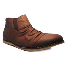 Harga D Island Shoes Slip On High Wrinkle Leather Dark Brown D Island Original