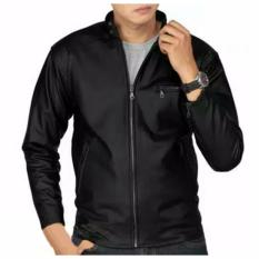 D1NY Collection Jaket Kulit Sintetis Kasual Klasik Hitam