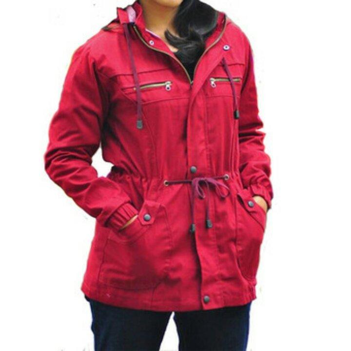 Fashionable D1NY Collection Jaket Parka Kanvas Wanita Maroon