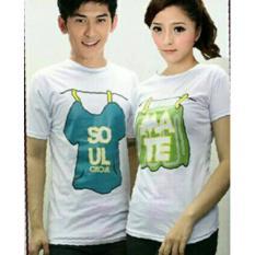 D'COUPLE T-Shirt  Kaos Pasangan  Baju Pasangan  Kaos Couple SOUL MATE JEMUR Putih
