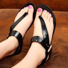 D76 Fashion Musim Panas Wanita Flat Jelly Lucu Sandal Panas Sepatu Sandal Pantai Warna Hitam-