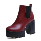 Harga D89 Wanita Baru Pu Kulit Penutup Ritsleting Sepatu Bot Bertumit Tinggi Sepatu Fashion Merah Anggur Oem Indonesia
