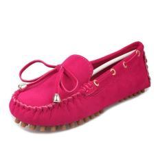 D95 Baru Women S Classical Mengemudi Kacang Polong Karet Sole Casual Pearl Suede Loafer Sepatu Warna Rose Intl Murah