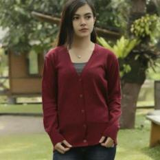 Daffa Atasan Wanita - Sweater Cardigan - Clasic Cardy - Rajut Halus - Maroon