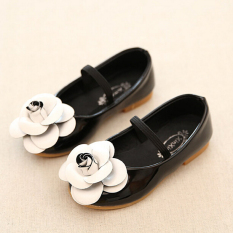 Daily Fashion Girl's Kid's Flowers Casual Cute Rubber Sole PU Leather Shoes I95 Black - intl