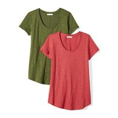 Daily Ritual Womens Vintage Cotton Slub Short-Sleeve Scoop Neck T-Shirt, 2-Pack, L, Cardinal Red/Cypress Green - intl