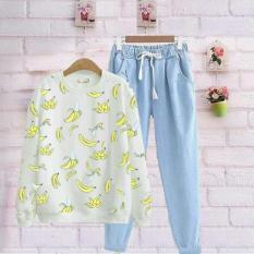 damai - baju sweater set siska celana joger denim - konveksi
