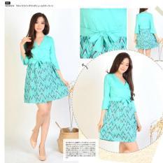 Damai fashion -MURAH dress zig zag green - konveksi - tanah abang