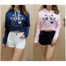 Damai fashion - sweater crop wilona bts 2 warna - baju murah tanah abang