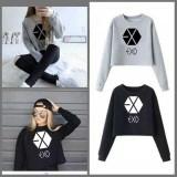 Model Damai Sweater Exo Crop Abu Dan Hitam Terbaru
