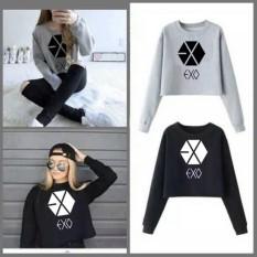 Spesifikasi Damai Sweater Exo Crop Abu Dan Hitam Yang Bagus Dan Murah