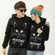 Damai - sweater hoodie cp Joan black meow - konveksi tanah abang
