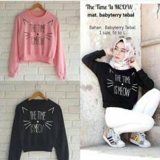Damai - sweater time is meow - 2 warna hitam dan pink - konveksi