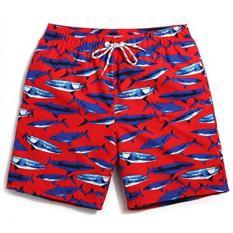 Danial Pria Cepat Kering Bunga Tropis Kelapa Boardshort Berenang Trunk Pantai Celana Pendek (Pinggang: 32 Inches, hiu Merah)-Internasional