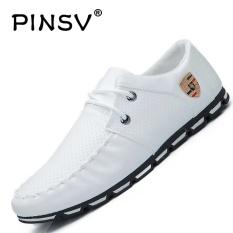 DanJi Men's Fashion Kasual Bisnis Kulit Sepatu Berkualitas Tinggi Sneaker Ukuran Lebih Putih-Internasional