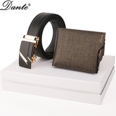 Cuci Gudang Dante Genuine Leather Wallet Men Wallets Fashion Organizer Purse Billfold Zipper Coin Pocket With Free Men S Genuine Leather Belt Gift Box Packing Gold Intl