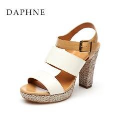 Daphne baru tahan air Taiwan tinggi dengan tebal dengan perempuan sandal (Beige 146)
