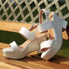 Harga Daphne Bertumit Tinggi Tahan Air Taiwan Kata Gesper Sandal Sepatu Wanita Putih 101