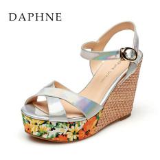 Daphne Heels Super Tinggi Cetak Tahan Air Taiwan Kata Gesper Wanita Sandal Perak 180 Asli
