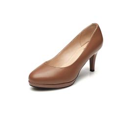 Daphne Kulit Seri Bertumit Tinggi Tahan Air Taiwan Putaran Kepala Mulut Dangkal Sepatu (Model Wanita + Coklat Muda Warna 103)