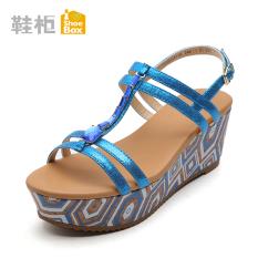 Daphne Lemari Sepatu Hak Tinggi Tahan Udara Taiwan Sol Tebal Sandal Musim Panas (Biru 114)