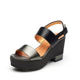Daphne Perempuan Bertumit Tinggi Tahan Air Taiwan Gesper Horizontal Sepatu Wanita Model Musim Panas Sandal Summer Timah Warna 134 Original