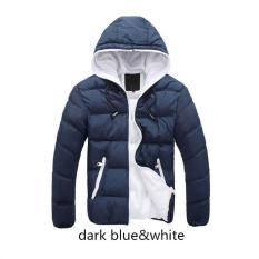 Biru Tua Putih Pria Jaket Bulu Angsa Sambatan 2017 Baru Tiba Musim Gugur Jaket Bulu Halus Musim Dingin Berkerudung Jaket Musim Dingin untuk Pria Fashion Mens Bersama Pakaian Mantel Ukuran Lebih- internasional