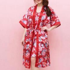 Daster Cantik stelan kimono merah-bunga