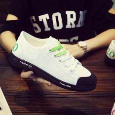 Sepatu Sneakers Datar Siswa Sekolah Menengah Remaja Sepatu Bola Putih (Putih atau Hijau 602)