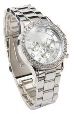 Kualitas Tanggal Jam Tangan Kristal Kuarsa Mewah Wanita Wanita Perhiasan Perak Oem