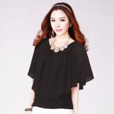 DaveCollection - Blouse Brenda kombinasi korean style - BLACK