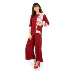 DaveCollection Setelan kombinasi bunga lengan 7/8 dengan celana kulot - RED