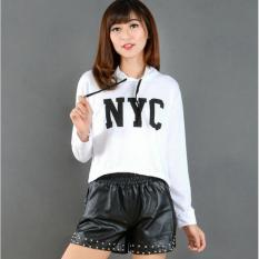 DaveCollection - Sweater NYC Crop With Hodie - WHITE