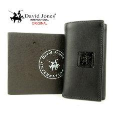 David Jones dompet kulit stnk gantungan kunci mobil / motor motif polos 1153 hitam ( DJ GKP 7901 )