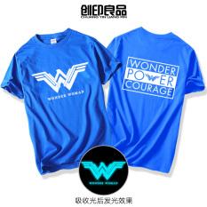 DC Katun Komik Pria atau Wanita Musim Panas Kaus (Biru Bercahaya)