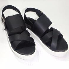 Review De Michel Sandal Wedges Silang Black Terbaru
