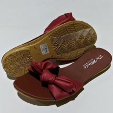 De Mode Sandal Wanita / Sandal Teplek / Sandal Flat  Merah Hati